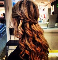 Beautiful lose curls, half up , half down braid