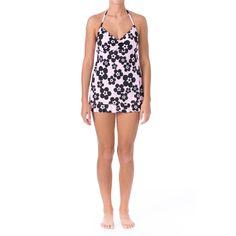 Mainstream Womens Floral Print Ruffled Swimdress