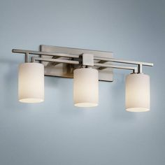 Fusion Aero Wide Brushed Nickel Bath Light is a quality Bathroom Lighting for your home decor ideas. Rustic Bathroom Shelves, Rustic Bathroom Designs, Rustic Bathroom Vanities, Bathroom Wall Lights, Bathroom Light Fixtures, Bathroom Vanity Lighting, Bathroom Ideas, Bath Ideas, Bathroom Interior