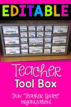 """Thank you for viewing my Editable Teacher Toolbox Labels product! This """"teacher toolbox"""" is a great way to organize all of your small desk and """"teacher"""" items in one place! I have used plastic drawers for storage, but everything always ends up rolling around and out of place. The teacher toolbox keeps everything organized and at my fingertips!"""