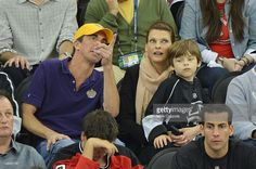 Model Linda Evangelista (3rd from L) and son Augustin James Evangelista attend the Los Angeles Kings vs the New Jersey Devils game five during the 2012 Stanley Cup final at the Prudential Center on June 9, 2012 in Newark, New Jersey.