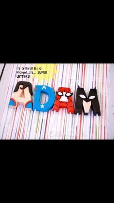Fondant letters from edible details on Facebook Fondant Numbers, Fondant Letters, Fondant Toppers, Fondant Cupcakes, Cupcake Cakes, Superhero Cupcake Toppers, Superhero Cake, Superhero Letters, Cartoon Cookie