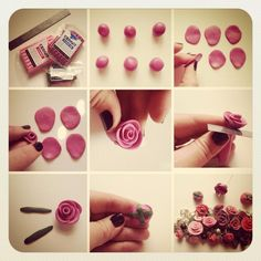 Tuto fimo rose discovered by Cécile Richard on We Heart It Polymer Clay Kunst, Fimo Clay, Polymer Clay Projects, Polymer Clay Charms, Polymer Clay Creations, Clay Beads, Polymer Clay Jewelry, Clay Crafts, Polymer Clay Tutorials