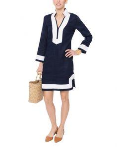 Navy Linen Dress with White Cotton Trim | Sail to Sable | Halsbrook