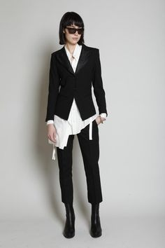 ann demeulemeester, love this whole look.. cropped pants, shirt, jacket, boots. perfect