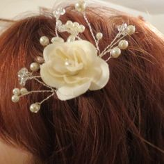 Wedding Ivory Flower  & Pearls Hair Comb by HeartSongCreativeExp, $28.00