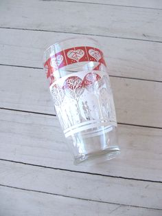 Vintage Cocktail Shaker Glass with old fashioned scene in red and white by lookonmytreasures on Etsy