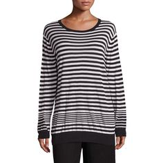 Vince Striped Cashmere Blend Pullover ($98) ❤ liked on Polyvore featuring tops, sweaters, black cream, contemporary sp - vince, striped long sleeve top, stripe sweater, striped pullover, long sleeve sweater and drop shoulder sweater