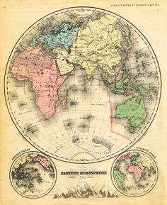 """McNally's System Map - """"EASTERN HEMISPHERE"""" - Hand-Colored Lithogrpah - 1866"""