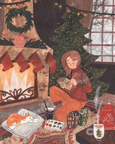 A cozy time on Behance Art And Illustration, Christmas Illustration, Food Illustrations, Cozy Christmas, Love Art, Art Inspo, Illustrators, Art Drawings, Artwork