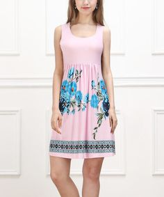 Loving this Pink & Turquoise Floral Sleeveless Fit & Flare Dress on #zulily! #zulilyfinds - these are so cute, and great for summer!