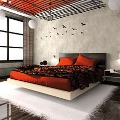 orange bedroom design ideas and decoration Black Master Bedroom, Bedroom Orange, Bedroom Red, Bedroom Themes, Home Bedroom, Bedroom Decor, Dream Bedroom, Modern Bedroom, Bedroom Ideas