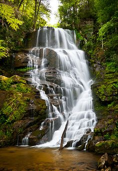 Eastatoe Falls waterfall in Western North Carolina.