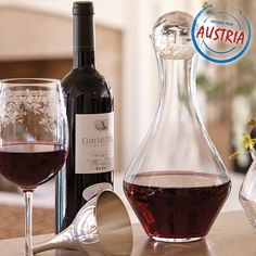 Riedel Cabernet Magnum Decanter. Decanting young wine several hours before they are served allows the wine to bloom and attain a stage of development that normally requires years of aging. Made from 24% leaded crystal.