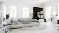 White Bedroom, Classic apartment with modern furniture custom