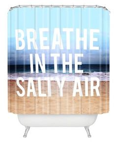 """Bathroom Summer Decor Ideas for the shower and more - """"Breath in the Salty Air"""" shower curtain from @wayfair.com. For more summer bathroom ideas, check out http://www.pottymouthtours.com/11-ways-get-bathroom-summer-mood/"""