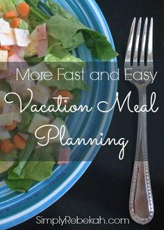 More Fast and Easy Vacation Meal Planning- Save money on vacation by planning easy meals you can make yourself! This is an example of what one family truly ate while on vacation.