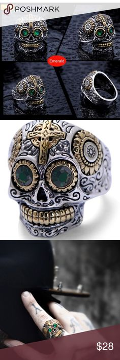 Men's Titanium Skull Ring w/ Mosaic green crystal Very cool piece .. Too Quality, mosaic top class green crystals ...  material: Titanium, crystals Size: 9 Accessories Jewelry