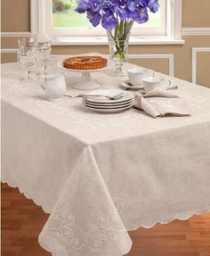A vintage charmer, the French Perle Table Linens are shaped by a scalloped edge, delicate white embroidery and a natural look and feel. Complement with French Perle dinnerware, also by Lenox. Kitchen Linens, Kitchen Decor, Burlap Chair Sashes, Lenox French Perle, Tablecloth Sizes, Entertainment Table, Bar Seating, Inspired Homes, Clean Design
