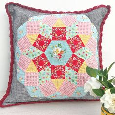 Mandolin Pillow - English Paper Piecing (EPP), applique with crochet edge.