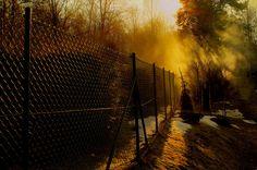 Smoky light Bokeh, Railroad Tracks, Fence, Explore, Train Tracks, Exploring, Boquet