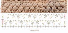 Point soufflé en zig zag / Zigzag puff stitch - HOOKLOOK. Méli-mélo d'idées en laine et au crochet.
