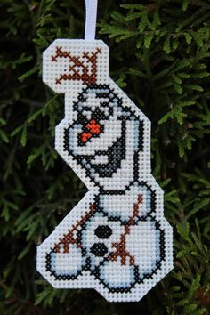 Handmade Olaf Cross Stitch Christmas Ornament by IttyBrittyNeedle
