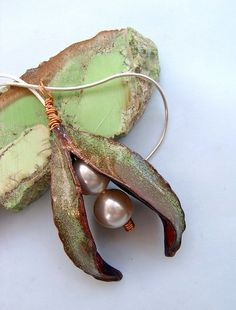 Form Folding Copper Jewelry | Fold form leaf pendant with crystal pearls | Flickr - Photo Sharing!