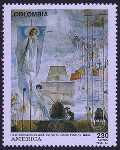 Colombia Scott #C853 (22 July 1992) The Discovery of America by Christopher Columbus (painting by Salvador Dali).  Learn some facts about Dali and his large painting (click link):   http://thedali.org/exhibit/discovery-america-christopher-columbus/