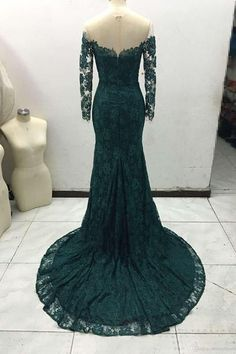 Off the Shoulder Long Sleeves Mermaid Lace Evening Dress Prom Dresses-Pgmdress