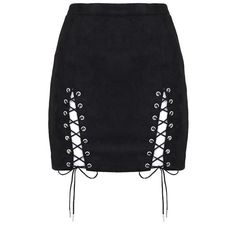 Suede Lace-Up Mini Skirt Black (€30) ❤ liked on Polyvore featuring skirts, mini skirts, lace up mini skirt, suede leather skirt, lace up suede skirt, suede skirts and short suede skirt