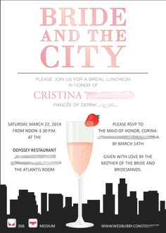 Sex and the city themed Bridal Shower invitation