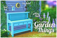 Since I'm suddenly addicted to making meshes, here are a couple more things for your garden! This time - a potting bench, a bee hotel and a bird box. The bee hotel and bench both have several swatches in summery colours plus a couple of wood...