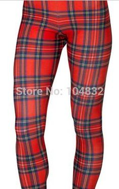 EAST KNITTING X-355 2015 Women New Tartan Red Toasties Leggings Montage Red Punk Leggings Plus Size XL