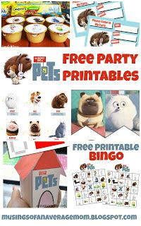 Secret Life of Pets Free Party Printables - including invitations, cupcake toppers, banner, activities and games.