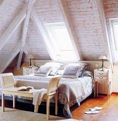 attic bedroom. skyylightss