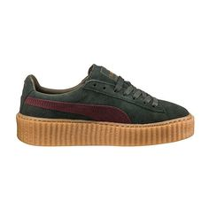 Puma PUMA BY RIHANNA MEN'S GREEN-BORDEAUX CREEPER ($140) ❤ liked on Polyvore featuring shoes, laced shoes, bordeaux shoes, platform lace up shoes, punk rock shoes and creeper shoes