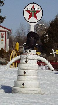 Tire snow man christianne marra marra crump tire shop for Snowmen made from tires