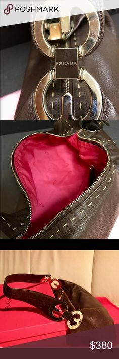 Escada Elena chocolate leather bag Gorgeous high quality leather and stitching. Prestige fuschia lining. Escada branded heavy hardware on both ends of the bag. Simply elegant and chic.***Hawaii 3-6hrs behind so please have patience. I will get back to you! Escada Bags Shoulder Bags
