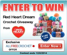 Red Heart Dream Crochet Giveaway -- enter to win $150 worth of #yarn goodies from @redheartyarns !