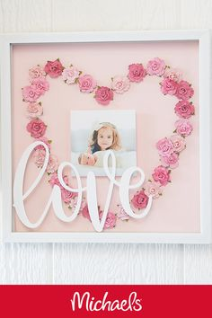 Frame your special moments with this layered shadow box of love. Personalization is made so easy by using the Cricut® to add a sentiment on top! Flower Shadow Box, Diy Shadow Box, Shadow Box Frames, Craft Gifts, Diy Gifts, Valentine Crafts, Valentines, Rolled Paper Flowers, Fabric Flowers