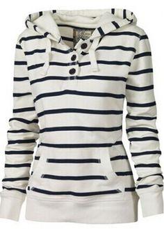 Long Sleeve Stripe Print Hooded Sweats - USD $22.68