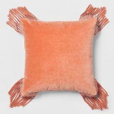 Coral Velvet Fringe Euro Pillow - Opalhouse™ : Target