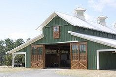 Morton horse barn in Bluffton SC-this is what my pole barn will look like except is it red tin :)! Morton horse barn in Bluffton SC-this is what my pole barn will look like except is it red tin :)! Pole Barn Garage, Pole Barn Homes, Pole Barn Shop, Horse Barns, Old Barns, Rinder Stall, Pole Barn Designs, Casas Containers, Barn House Plans
