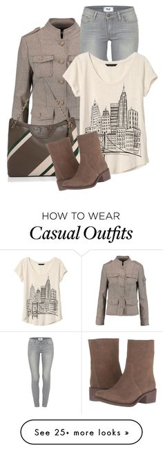 """Tory Burch casual"" by my-pretend-closet on Polyvore featuring Tory Burch, Paige Denim and Banana Republic"