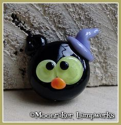 Black Cat Witch Kitty Halloween Lampwork Bead by moonrakerbeads
