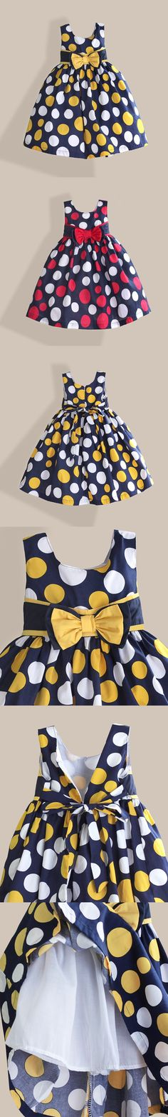 Cotton Baby Girl Dress Yellow Red Dot Printed Summer kids Dress for Birthday Fashion Bow Girls Clothes vestido infantil 3-7T $16.99
