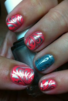 Metallic blue on pink - good nail stamping color combo