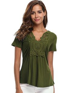 319151a7de8c1b MISS MOLY Peplum Tops for Women Deep V-Neck Ruched Front Short Sleeve Ruffle  Casual Blouse Shirt at Amazon Women's Clothing store: