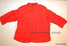 LAUREN RALPH LAUREN 100% Linen Shirt Womens PLUS 3X Orange Button Down Blouse #LaurenRalphLauren #ButtonDownShirt #Career